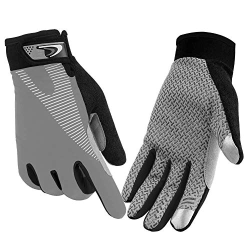 CFTech Cycling Gloves Touchscreen Ultimate Frisbee Gloves Non-Slip Flexible Thin Workout Gloves for Men Women (Grey, M)