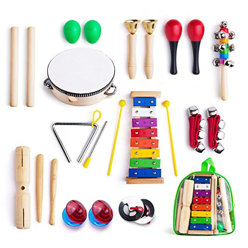 Frunsi 12 in 1 Musical Instruments Xylophone Set Percussion Toy Rhythm Band Set Drum Maracas Bells Egg Shaker with Carry Bag for Kids, Toddler, (Rock Band Drum Bag)