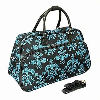 World Traveler 21-Inch Carry-On Shoulder Tote Duffel Bag, Black Blue Damask, One Size