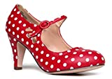Mary Jane Pumps - Low Kitten Heels Vintage Retro Round Toe Shoe With Ankle Strap - Pixie By J. Adams   amazon.com