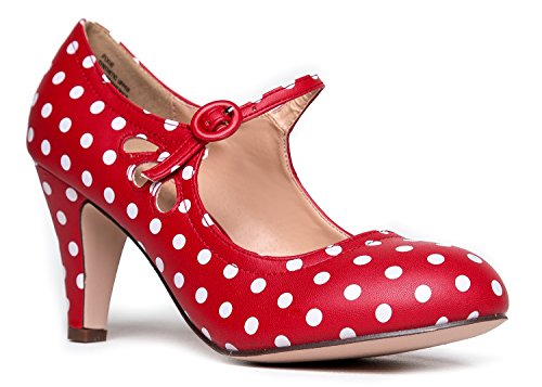 ZooShoo Mary Jane Pumps, Red Polka Dot, 7 B(M) US