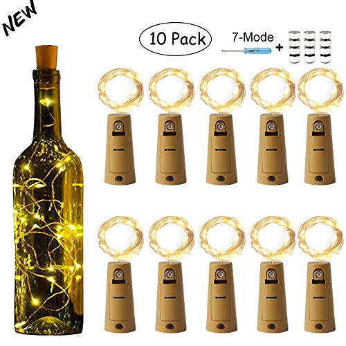 YITING Wine Bottle Lights with Cork-7 Dimmable Modes, 10 Pack Battery Operated 20 LED Cork Shape Sliver Copper Wire Fairy String Lights for DIY, Party, Decor, Christmas, Halloween,Wedding(Warm White) (Christmas 2019 Cork Lights)