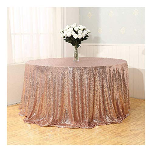 Poise3EHome Rose Gold Sequin Tablecloth for Wedding Party Bridal Shower Tree Skirt, Round 108