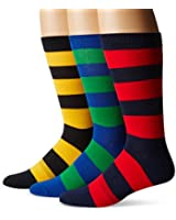 K.Bell Black Label Men's Big & Tall Rugby-Stripe Crew Sock 3-Pack