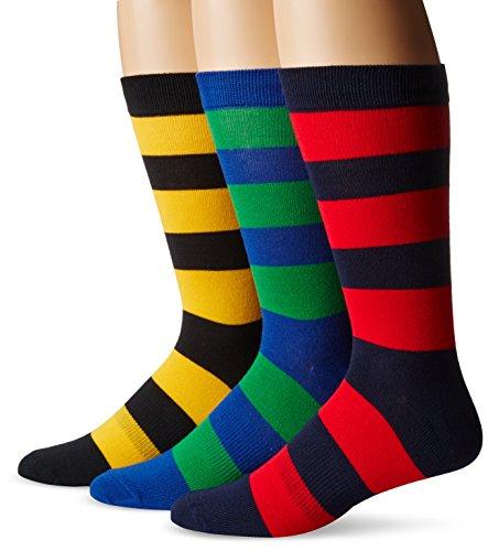 K. Bell Socks Men's Striped Casual Crew Socks (3 Pair), Navy, Shoe Size: 6-12