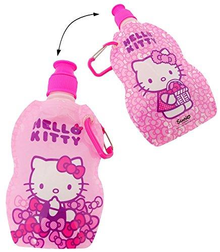 """FALT Trinkflasche / Trinkbeutel - """" Hello Kitty """" - auslaufsicher - flexibel zum Falten / Verkleinern - 500 ml Flüssigkeit - Campingflasche / Faltflasche / Sportflasche / Wasserflasche - Kinder Flasch"""