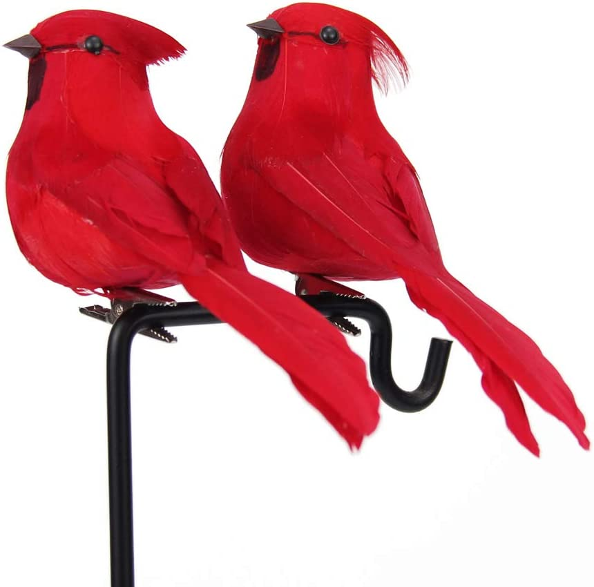 Vvrai Amour Red Cardinal Bird with Clip, Christmas Tree Nature Garden Lawn Ornament Decorations 4inch2inch Realistic Felt Cardinals Art Craft - Set of 12 Pack
