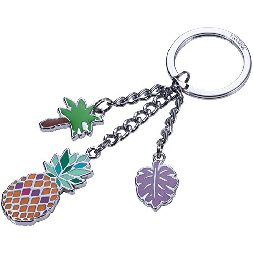 TROIKA PINEAPPLE – KR17-36/CH – Keyring with 3 charms – pastel colours, pineapple, trendy – cast metal/enamel– shiny – chrome plated – multicoloured – TROIKA-original (Pineapple Cast)