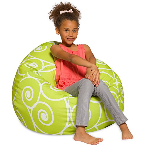Big Comfy Bean Bag Chair: Posh Large Beanbag Chairs with Removable Cover for Kids, Teens and Adults - Polyester Cloth Puff Sack Lounger Furniture for All Ages - 27 Inch ()