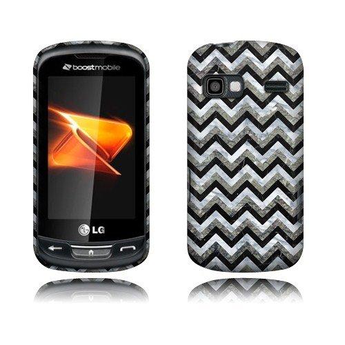 Nextkin LG Rumor Reflex LN272 Xpression C395 Xpression 2 C410 Hard Plastic Snap On Protective Cover Case - Black White Chevron Zigzag Marble