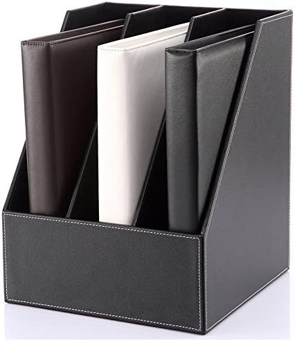 Stehsammler Aktenhalterung aus Leder Datenspeicherrahmen Triple Desktop File Box Office Tabletop Organizer (Color : Black, Size : 35x27x27cm)