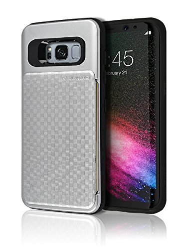 Galaxy S8 Push Hidden Wallet Case [Card Slot] [Heavy Duty] [Slim Fit] [Textured Grip] Dual Layer Hybrid Tough Shield Drop Protection Back Bumper Hard Holder Cover Samsung Galaxy S8 (Silver)