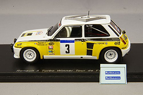 Spark - Winner Tour de France 1984 Renault R5 Turbo Coche de ferrocarril, S3863, Color Blanco/Amarillo/Negro, (Escala 1/43: Amazon.es: Juguetes y juegos