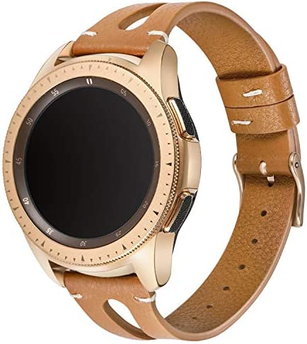 Areziir 20mm Slim Leather Bands Compatible with Samsung Galaxy Watch Active 40mm & Galaxy Watch 42mm Smart Watch, Genuine Leather Cute Replacement Band for Garmin Vivoactive 3 (Brown/Rose Gold) 519iqSTVxEL