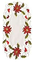 Xia Home Fashions Poinsettia Lace Embroidered Cutwork Christmas Traycloth, 8 by 15-Inch, Set of 4