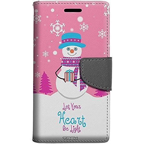 Samsung Galaxy S7 Edge Wallet Case - Joyful Snowman with Gift on Pink Case Sales