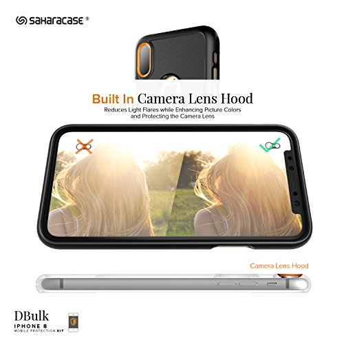 iPhone x custodia, Saharacase Dbulk kit di protezione schermo in vetro temperato con [Zerodamage] Slim Fit [Presa anti-scivolo antiurto paraurti con coperchio posteriore] iPhone 10–nero