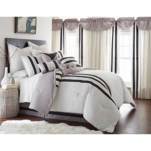 Black Grey Cream (Amrapur Overseas | Newport 24-Piece Striped Comforter Set (Grey/Black/Cream, King))