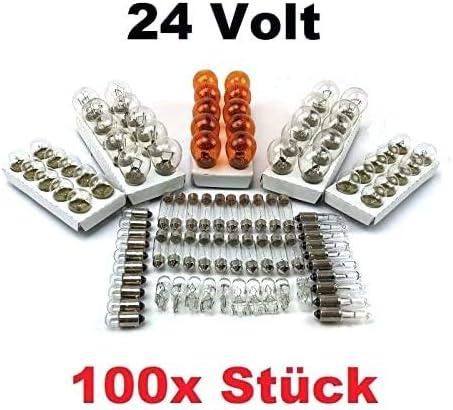 100x St 24v Lkw Nfz Auto Lampen Set 10x P21 5w 10x P21w 10x Py21w R5w Ba15s R5w Ba15d 10x R10w 10x W5w 10x W3w 10x C5w Sv8 5 11x41 10x Ba9s T4w Glühlampe Prüfzeichen Amazon De