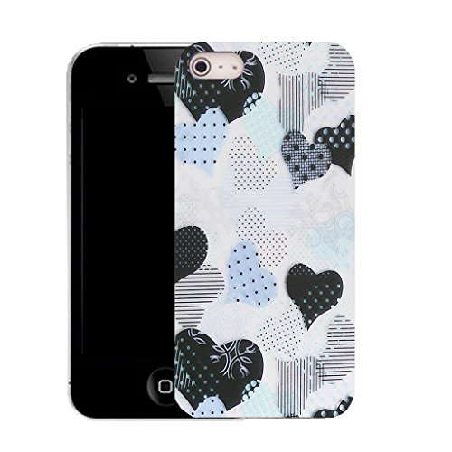 Mobile Case Mate IPhone 4s clip on Silicone Coque couverture case cover Pare-chocs + STYLET - delicate heart pattern (SILICON)
