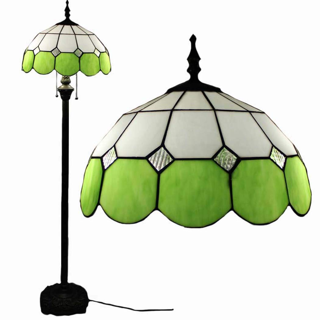 DSHBB Floor Lights, 16 inch Mediterranean Tiffany Style Floor lamp with Stained Glass lampshade and Pull Switch, Standing Light for Living Rooms,bar,Bedrooms, E272 40W,Green