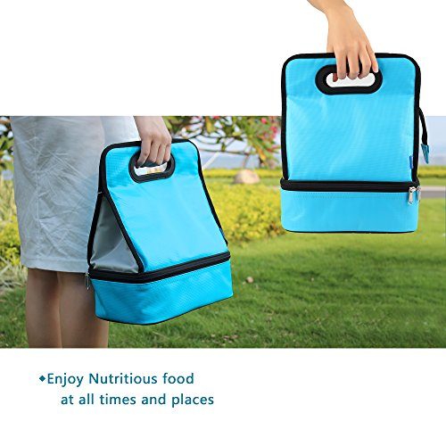 Expandable Lunch Bag Double Layer Cooler Tote Bag for Adult Women and Men - Idea for Beach, Picnics, Road Trip, Meal Prep, Everyday Lunch to Work or School, Ice Blue by yodo (Image #2)