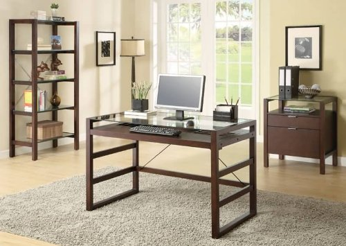 Contemporary Espresso Finish Glass Top Desk by Coaster Furniture For Sale