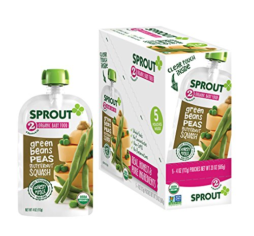 Sprout Organic Baby Food Pouches Stage 2 Sprout Baby Food, Green Beans Peas Butternut Squash, 4 Ounce (Pack of 5); USDA Organic, Non-GMO, Made with Whole Foods, No Preservatives, Nothing Artificial