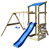 vidaXL Children Kids Outdoor Garden Wooden Playhouse Set with Ladder/Slide/Swings Toys