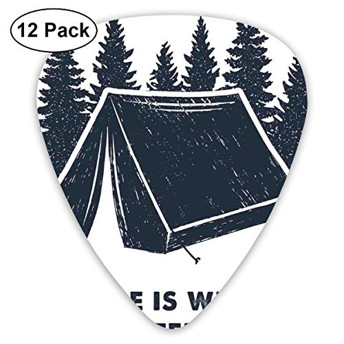 Guitar Picks - Abstract Art Colorful Designs,Home Is Where The Tent Is Lettering With Pine Trees Camping Travel Theme,Unique Guitar Gift,For Bass Electric & Acoustic Guitars-12 Pack