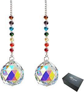 SunAngel Hanging Window Crystals Prisms & AB Color Crystal Prisms Ornament Suncatchers,40mm Rainbow Crystal Pendant with Chain for Home,Office,Garden Decoration(2 Packs)