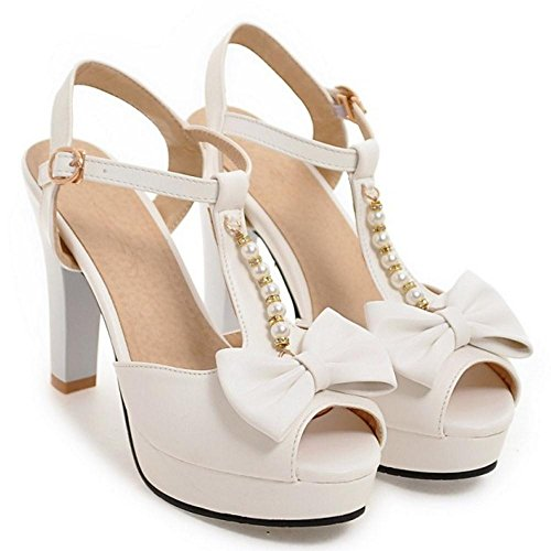Peep white Femmes Sandales RAZAMAZA Toe Yw1CqA5