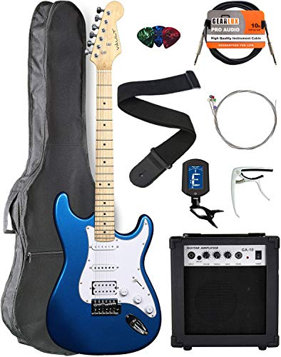 Vault ST1-E Metallic Blue Electric Guitar with Ovangkol Neck Bundle with Gig Bag, 10w Amp, Strap, Tuner, Strings, Instrument Cable, Capo, and Picks