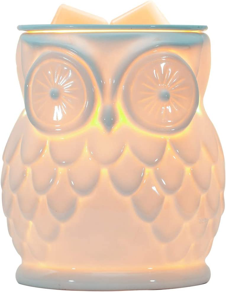Giggle House Ceramic Electric Wax Melt Warmer Candle Waxing Warmer Burner Melt Wax Cube Melter Fragrance Warmer- Ideal Gift for Wedding, Spa and Aromatherapy. (Owl)