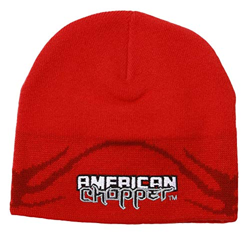 Officially Licensed American Chopper Embroidered Red Knit Beanie Cap Stocking - Beanie Choppers Hat