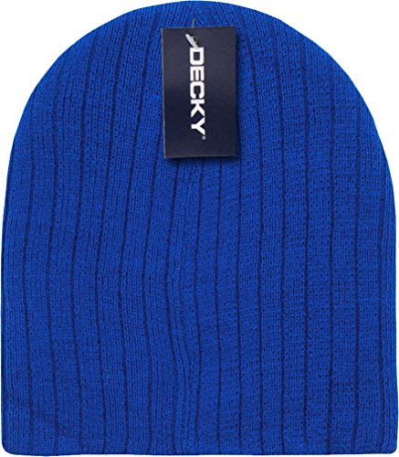 Royal Blue Cable Beanie Stocking Cap Winter Stocking Hat Biker Skully - Knitted Cable Cuffless Beanie