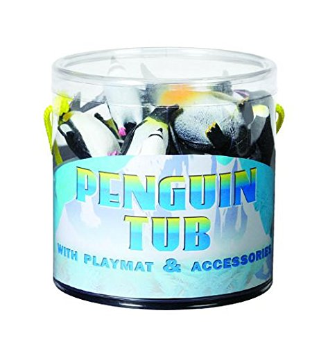 Penguin Tub of Toys Playset, 8 Assorted Penguins with Plastic Iceberg & Undersea Mat