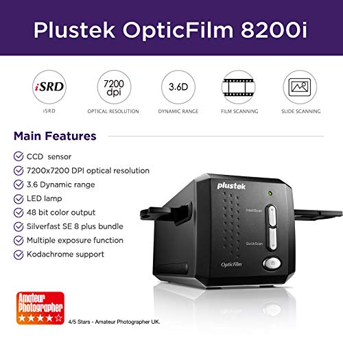 Support Mac and PC with high Dynamic and 3600 DPI Resolution The Motorized 35mm Slide and Negative Film CCD Scanner Plustek OpticFilm 135