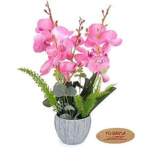 YOBANSA Big Size Orchid Bonsai Artificial Flowers with Imitation Porcelain Flower Pots Phalaenopsis Fake Flowers Arrangements for Home Decoration (Rose Red) 41