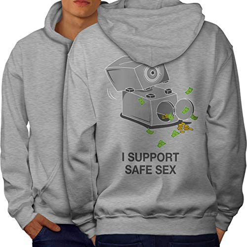 wellcoda Support Safe Sex Funny Mens Hoodie, Image Printed on The Jumpers Back Grey 3XL