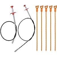 AIFUDA 7 Pack Hair Drain Clog Remover Tool, 63 Inch en 35.4 Inch roestvrij staal en 5 kunststof afvoer riool ontdooien…
