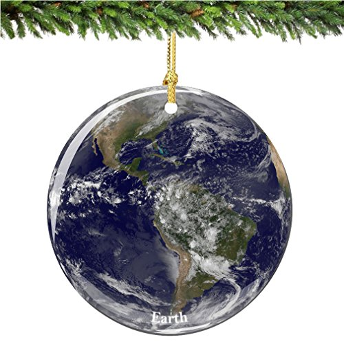City-Souvenirs NASA Earth Christmas Ornament, Porcelain 2.75 Inch Christmas Ornament ()