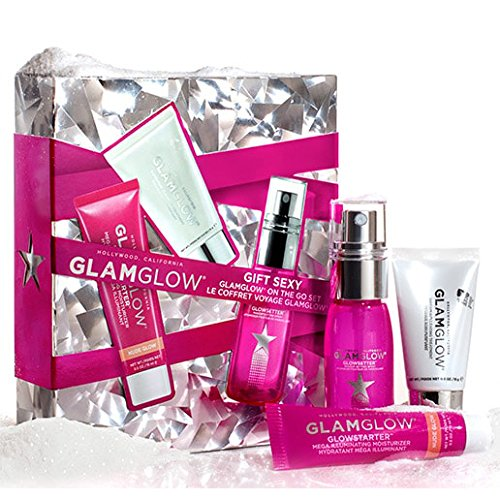 GLAMGLOW Glow ON THE GO SET Trio Holiday Set - Includes SUPERMUD CLEARING TREATMENT 15 g tube, GLOWSTARTER MEGA ILLUMINATING MOISTURIZER 15 g tube, GLOWSETTER MAKEUP SETTING SPRAY 1 oz (Mega Moisturizer)
