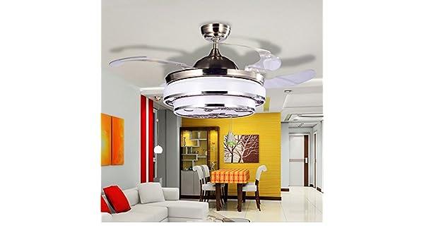 aorakilights aplanadora de metal ventilador de techo con LED luces para salón o dormitorio Invisible cuchillas ...