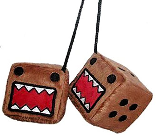 """- Cool & Custom {3"""" Inch w/ String} Single Pair of """"Fuzzy, Furry & Fluffy Plush Dice"""" Rear View Mirror Hanging Ornament Decoration w/ Domo Kun Cartoon Face Design [Jetta Brown, Black and Red Color]"""