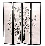 Legacy Decor 4-Panel Black Bamboo Print Oriental Shoji Screen / Room Divider