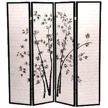 Legacy Decor 4 Panel Black Bamboo Print Oriental Shoji Screen / Room Divider