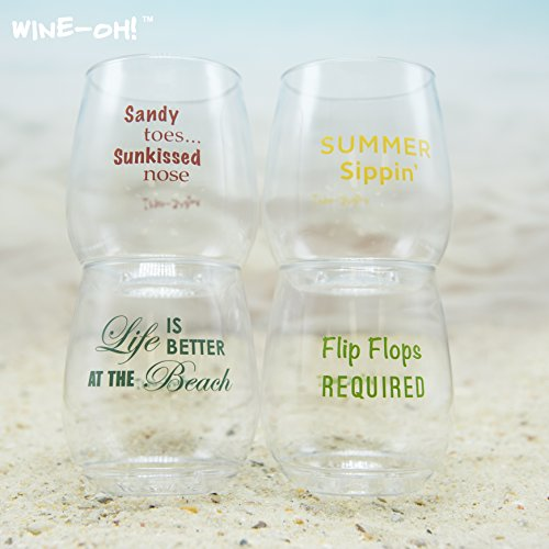 4-pack Wine-Oh! Designer BPA Free Plastic Shatterproof Wine Glass (BEACH - Beach Glasses