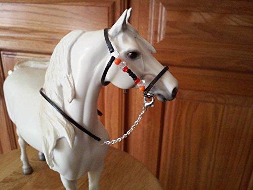 Breyer Leather Halter (Breyer Peter Stone horse custom halter and lead tan leather beads orange black)
