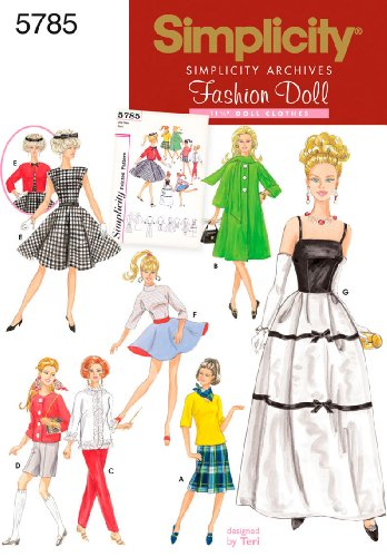 Sewing Barbie Doll Patterns - Simplicity Vintage Fashion Doll Clothing Outfits Sewing Patterns for 11.5'' Dolls